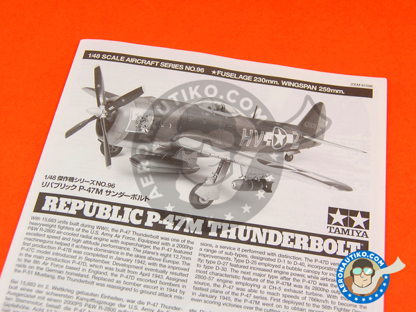Image 2: Republic P-47 Thunderbolt M | Airplane kit in 1/48 scale manufactured by Tamiya (ref. TAM61096)
