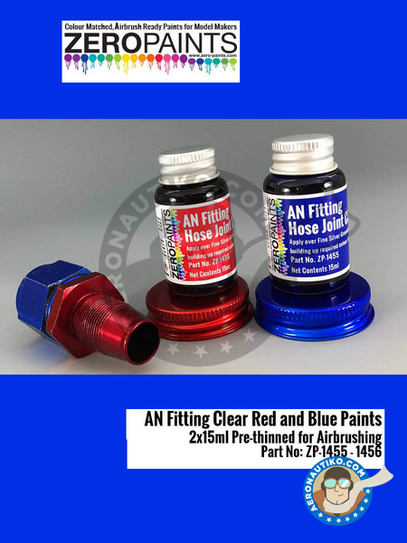 AN fitting clear blue and red | Paint manufactured by Zero Paints (ref. ZP-1455-1456) image