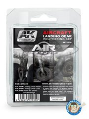 AK Interactive: Paints set - Aircraft Landing Gear Weathering Set |Air Series New 2018 - AK-2029 Landing Wash Gear, AK-2031 Landing Dust Effect Gear, AK2032 Shafts Grease & Bearings. - for all kit
