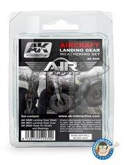 AK Interactive: Paints set - Aircraft Landing Gear Weathering Set |Air Series New 2018 - AK-2029 Landing Wash Gear, AK-2031 Landing Dust Effect Gear, AK2032 Shafts Grease & Bearings. - for all kit