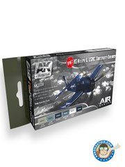 AK Interactive: Paints set - WW2 US NAVY and USMC Aircraft Color New 2018 - Light Grey, Blue Grey, Sea Blue, Intermediate Blue, Insignia White, Dark Sea Blue - for all kits