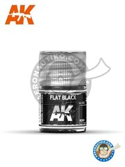 AK Interactive: Paint - Flat Black | Ral 9005 | Real Color - Jar 10ml - for all kits