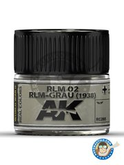 AK Interactive: Real color - Paint RLM 02 RLM-GRAU 1938 - 35 mL jar. - for all kits.