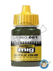 AMMO of Mig Jimenez: Acrylic paint -  Olivgrün OPT.1 Ral 6003 - 17ml Jar - for WWII German camo, Vegetation, Iraqui camouflage.