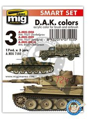 AMMO of Mig Jimenez: Paints set - D.A.K. Colors Deutsches Afrikakorps | Smart set - A.MIG-008 RAL 7021 Dunkegrau, A.MIG-009 RAL 7027 Sandgrau, A.MIG-0016 RAL 8020 Gelbbraun