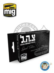 AMMO of Mig Jimenez: Paints set - Israel Defense Forces Special Edition Set | New 2018 - A.MIG-066 Faded Sinai Grey, A.MIG-067 Light Sand Grey, A.MIG-068 IDF Green, A.MIG-049 Red, A.MIG-131 Real IDF Sinai Grey '82, A.MIG-132 Real IDF Sand Grey  - for Israeli army vehicle kits at any time and scale