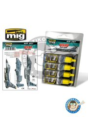 AMMO of Mig Jimenez: Acrylic paint - USAF Colors Grey Modern Jets - FS36375 Light Compass Ghost Gray, FS361188 Medium Gunship Gray, FS36320 Dark Compass Ghost Gray, FS36270 Medium Gray - for all kits