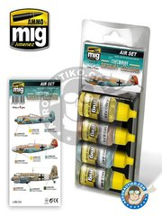 AMMO of Mig Jimenez: Paints set - Luftwaffe Desert Colors 17ml | Air Set | New 2018 - A.MIG-0125 RLM 04 Gelb, A.MIG-0222 RLM 79 Sandgelb, A.MIG-0247 RLM 79 Hellbrau, A.MIG-0248 RLM 80 Olivgrün - for all kits
