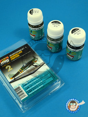 AMMO of Mig Jimenez: Paints set - Air Weathering Set, German Late Luftwaffe Fighters WWII - Luftwaffe (DE2) - 3 panel line wash, 1 Blue Grey, 1 Black Night, 1 Grey Brown
