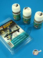 AMMO of Mig Jimenez: Paints set - Early RAF Fighters and Bombers  - Air weathering Set - RAF (GB0);  (GB4); RAF (GB3) - Ukranian - 3 panel line wash