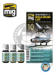 AMMO of Mig Jimenez: Paints set - Metallic Airplanes & Jets | Weathering Sets - A.MIG-1602 PLW Blue Black, A.MIG-1617 PLW Deep Grey, A.MIG-1618 PLW Deep Brown - for all kits