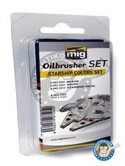 AMMO of Mig Jimenez: Oilbrusher Set - Starship Color Set 10ml x 3 Jars - A.MIG-3500 Black, A.MIG-White, A.MIG-3513 Starship Filth - for all kits