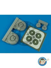 Aires: Wheels 1/32 scale - Ju 87G wheels & paint masks - paint masks and resin parts - for Academy kits