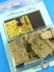 Aires: Cockpit set 1/32 scale - Republic P-47 Thunderbolt D Bubbletop - resin, photo-etched parts - for Hasegawa reference 08218