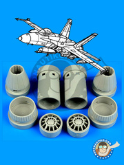 Aires: Exhaust nozzle 1/48 scale - McDonnell Douglas F/A-18 Hornet | Exhaust nozzle  E Super Hornet - different locations - resin parts - for Revell kit 85-5850