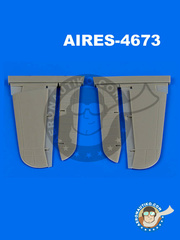 Aires: Control surfaces 1/48 scale - Douglas SBD-5 Dauntless - resin parts - for Accurate Miniatures reference 3412, or Eduard reference 1165, or Italeri reference 2673