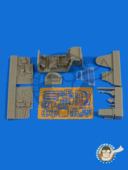 Aires: Cockpit set 1/48 scale - Messerschmitt Bf 109 G-6 late - photo-etched parts and resin parts - for Eduard kit 82111