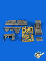 Aires: Cockpit set 1/48 scale - Messerschmitt Bf 109 G-6 early - photo-etched parts and resin parts - for Eduard reference 82113