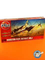 Airfix: Airplane kit 1/48 scale - Boulton Paul Defiant Mk. I - July 1940 (GB3); September 1940 (GB3) - plastic parts, water slide decals and assembly instructions