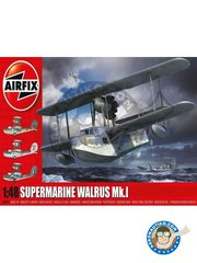 Airfix: Airplane kit 1/48 scale - Supermarine Walrus Mk.I - Harrowbeer, Devon 1944 (GB3); HMS Sheffield, 1941 (GB3); Australia and New Guinea 1943 (AU3) - different locations - plastic parts, water slide decals and assembly instructions