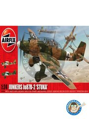 Airfix: Airplane kit 1/24 scale - Junkers Ju 87B-2 'Stuka' - Tmimi, Lybia, June 1941 (DE2); Lannian, France, August 1940 (DE2) - plastic parts, water slide decals and assembly instructions