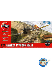 Airfix: Airplane kit 1/24 scale - Hawker Typhoon Mk.IB - World War II - plastic parts, water slide decals and assembly instructions