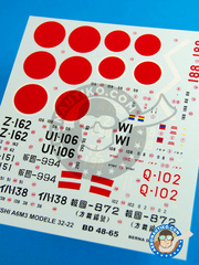 Berna Decals: Marking / livery 1/48 scale - Mitsubishi A6M Zero 3 - IJAAF (JP0) - Japan 1942 and 1943 - water slide decals and placement instructions - for all kits
