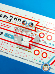 Berna Decals: Marking / livery 1/72 scale - Dassault Super Mystère B2 - Armée de l'Air (FR3) - Armée de l'Air 1959, 1962 and 1966 - water slide decals and placement instructions - for all kits