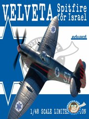 Eduard: Airplane kit 1/48 scale -  Supermarine Spitfire Mk.IXe Velveta -  (IL1) - Israeli Air Force 1940 - full colour photo-etched parts, paint masks, plastic parts, resin parts, water slide decals, assembly instructions and placement instructions