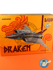 Eduard: Airplane kit 1/48 scale - Saab J-35 Draken - different locations - full colour photo-etched parts, assembly instructions, photo-etched parts, plastic parts, resin parts and water slide decals image