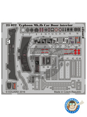 Eduard: Coloured photo-etched cockpit parts 1/24 scale - Hawker Typhoon Mk.IB Car Door - full colour photo-etched parts - for Airfix kit A19003 image