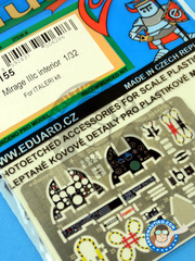 Eduard: Coloured photo-etched cockpit parts 1/32 scale - Dassault Mirage III C - for Italeri kit 2505