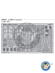 Eduard: Flaps 1/48 scale - Junkers Ju-88 A-4 - photo-etched parts and assembly instructions - for ICM reference 48233