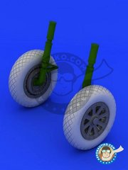 Eduard: Wheels 1/32 scale - F4U-1 wheels diamond pattern - paint masks, resin parts and assembly instructions - for Tamiya kit