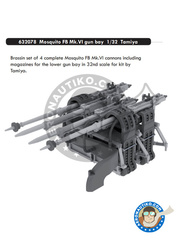 Eduard: Gun barrels 1/32 scale - Mosquito FB Mk.VI Gun Bay Mk. VI - resin parts and assembly instructions - for Tamiya kit