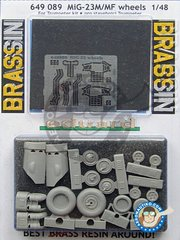 Eduard: Wheels 1/48 scale - MiG-23 M/ MF Wheels - paint masks, photo-etched parts, resin parts and assembly instructions - for for Trumpeter kit