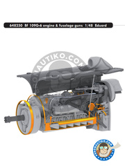 Eduard: Engine 1/48 scale - Bf 109G-6 engine & fuselage guns G-6 - photo-etched parts, resin parts and assembly instructions - for Eduard references 82111 and 82113 image