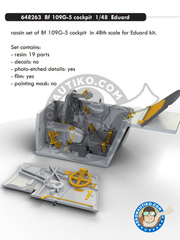 Eduard: Cockpit set 1/48 scale - Messerschmitt Bf 109 G-5 - photo-etched parts and resin parts - for Eduard reference 82112 image