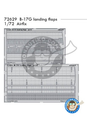 Eduard: Flaps 1/72 scale - Boeing B-17 Flying Fortress G - photo-etched parts - for Airfix reference A08017