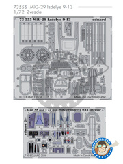 Eduard: Photo-etched parts 1/72 scale - Mikoyan MiG-29 Fulcrum 9-13 Izdelye - full colour photo-etched parts and photo-etched parts - for Zvezda kit 7278