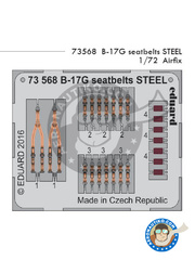 Eduard: Seatbelts 1/72 scale - Boeing B-17 Flying Fortress G - full colour photo-etched parts - for Airfix reference A08017