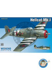 Eduard: Airplane kit 1/72 scale - Grumman F6F Hellcat Mk. I - Royal Navy (GB4); Royal Navy (GB5) - World War II - plastic parts, water slide decals and assembly instructions