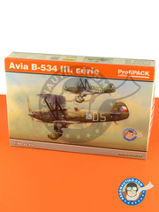 Eduard: Airplane kit 1/48 scale - Avia B.534 III serie - Czech Air Force (CZ0); Slovak Air Force (SK0) 1937, 1938 and 1939 - paint masks, photo-etched parts, plastic parts and water slide decals image