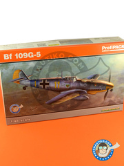 Eduard: Airplane kit 1/48 scale - Messerschmitt Bf 109 G-5 - Russia 1944 (DE2) - full colour photo-etched parts, assembly instructions, plastic parts and water slide decals image