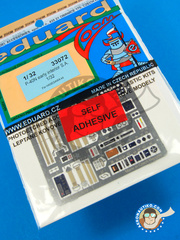 Eduard: Coloured photo-etched cockpit parts 1/32 scale - Curtiss P-40 Warhawk N - full colour photo-etched parts and assembly instructions - for Hasegawa kit