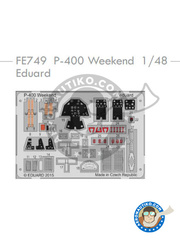 Eduard: Coloured photo-etched cockpit parts 1/48 scale - Bell P-400 Airacobra - World War II - for Eduard kit 8472