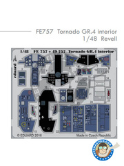 Eduard: Coloured photo-etched cockpit parts 1/48 scale - Panavia Tornado GR. 4 - for Revell kit REV04924