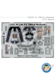Eduard: Coloured photo-etched cockpit parts 1/72 scale - Focke-Wulf Fw 190 Würger A-8 - full colour photo-etched parts and assembly instructions - for Eduard kits