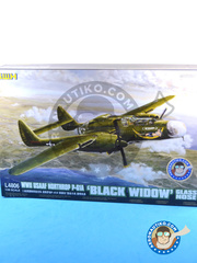 Great Wall Hobby: Airplane kit 1/48 scale - Northrop P-61 Black Widow A Glass Nose - July 1943. (US5) 1944 - plastic parts, water slide decals and assembly instructions image