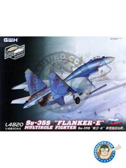 "Great Wall Hobby: Airplane kit 1/48 scale - Sukhoi Su-35S ""Flanker-E"" Multirole Fighter - Rusia (RU2) - Russia - photo-etched parts, plastic parts, water slide decals and assembly instructions"